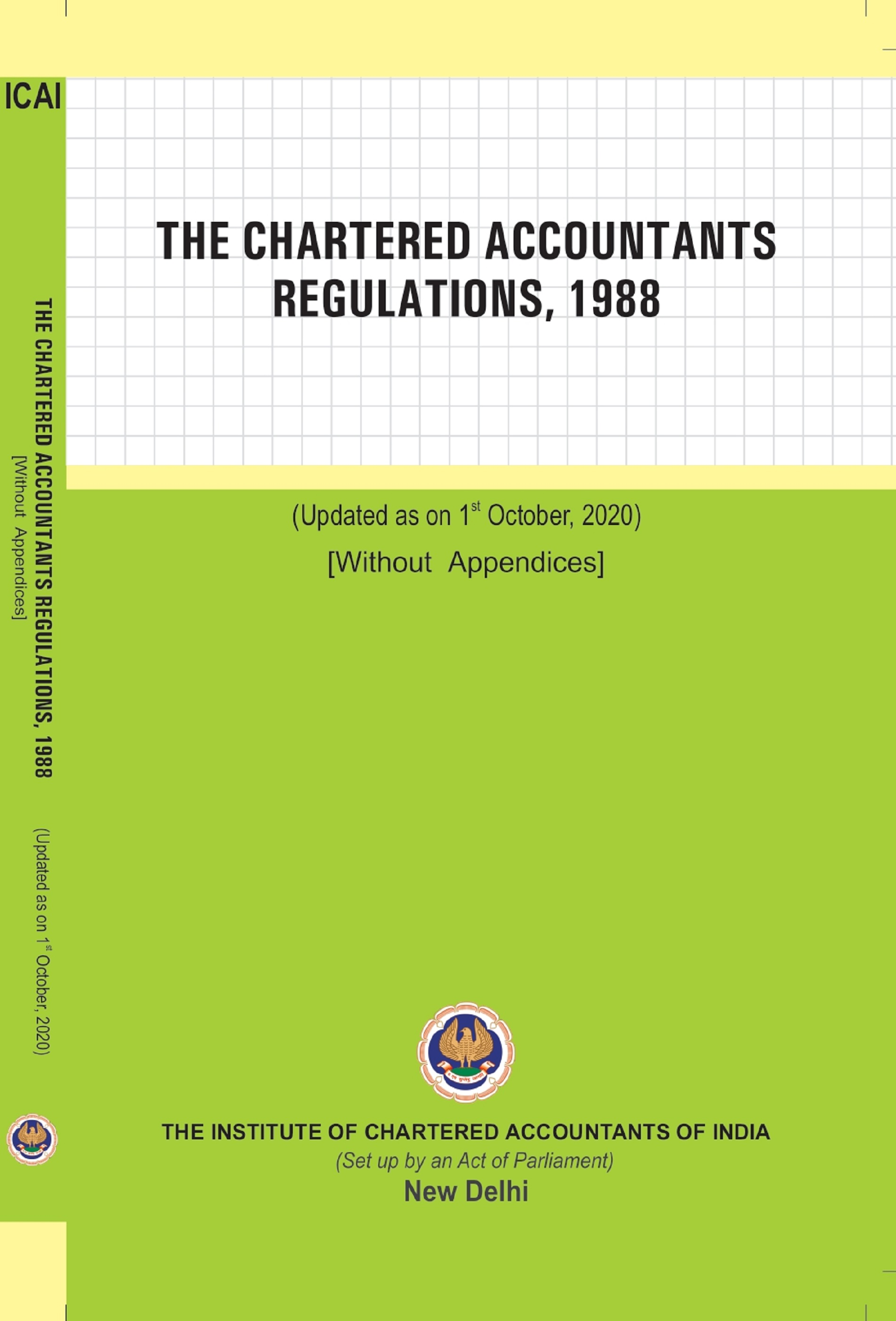 The Chartered Accountants Regulations, 1988 (Updated as on 1st October, 2020)