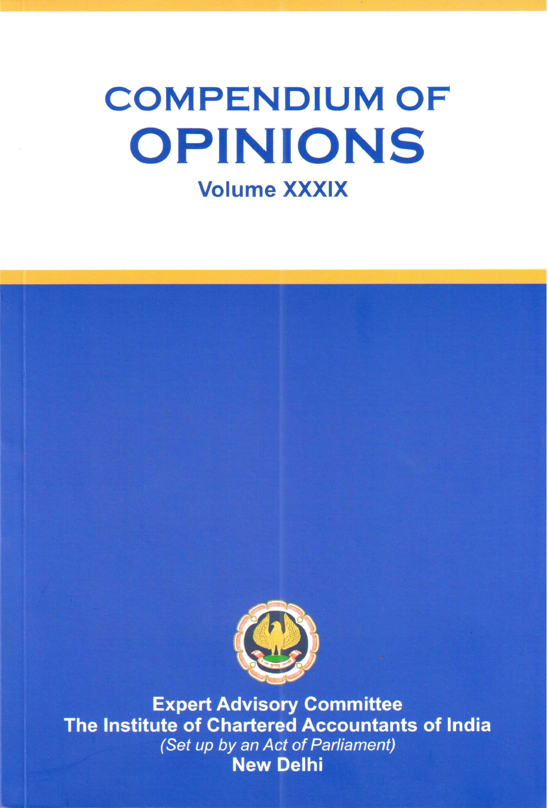 Compendium of Opinions Volume - XXXIX (2021)