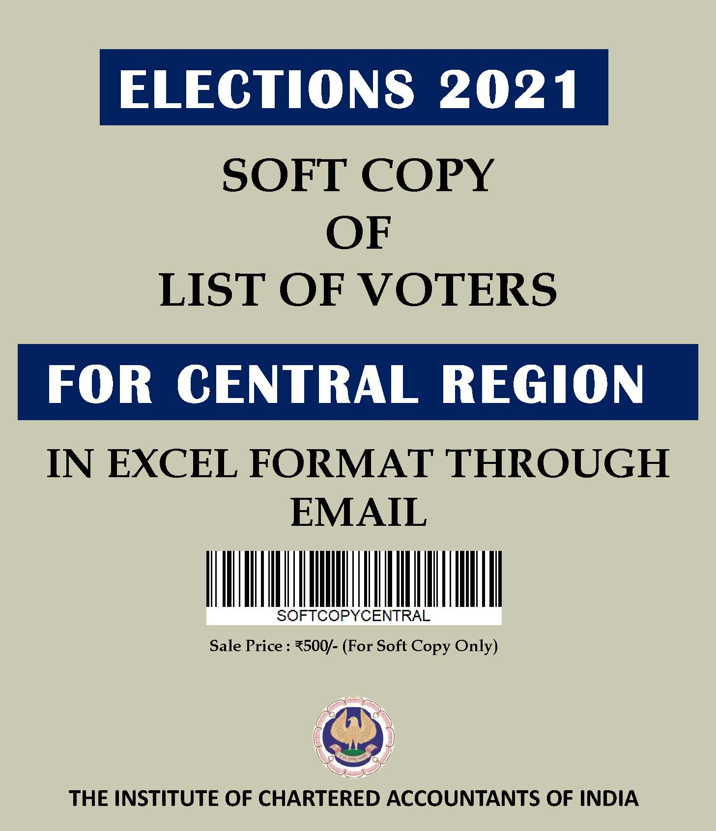 SOFT COPY: List of Voters for Central Region (Elections 2021) in Excel Format Through E-mail
