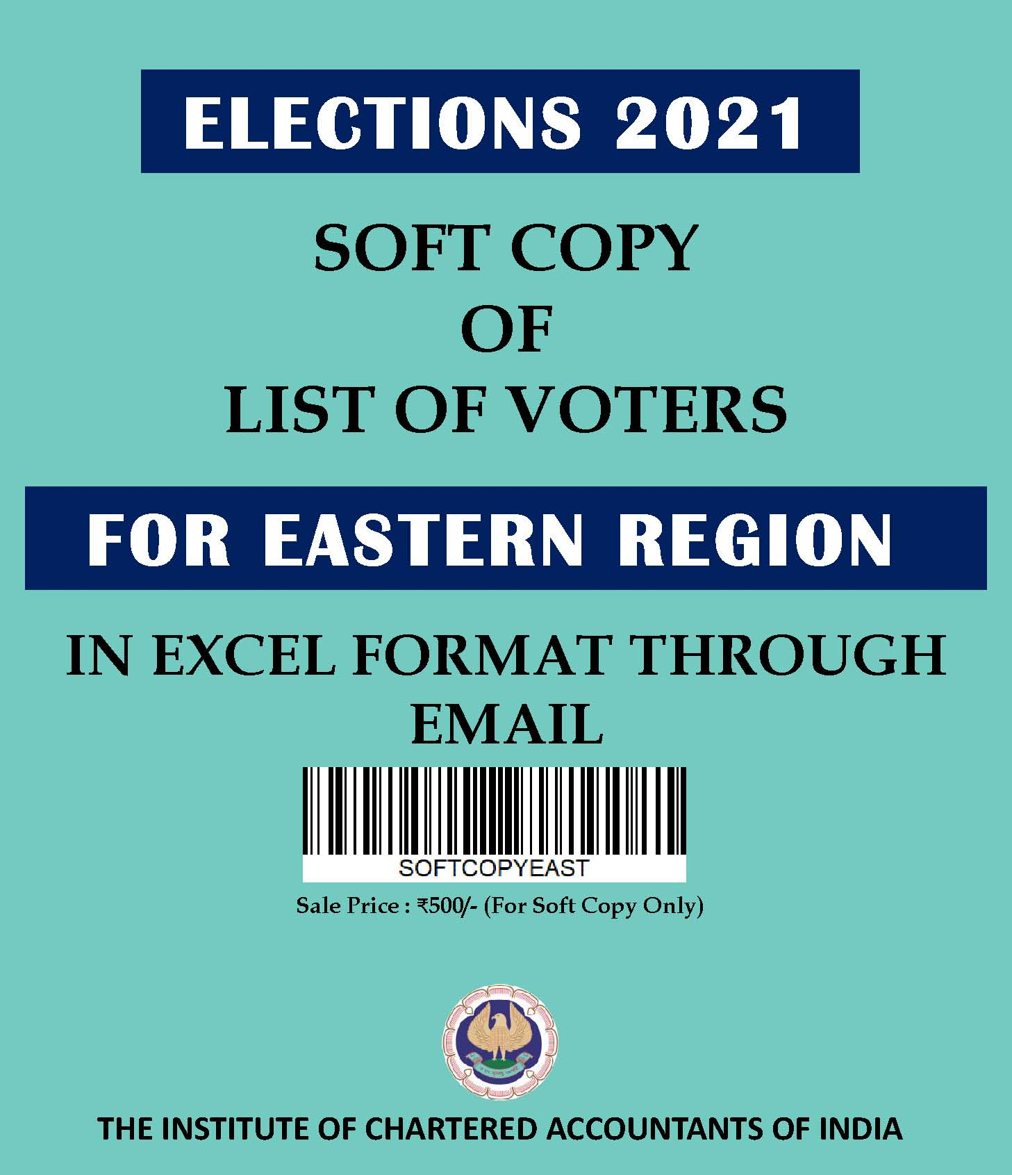 SOFT COPY: List of Voters for Eastern Region (Elections 2021) in Excel Format Through E-mail