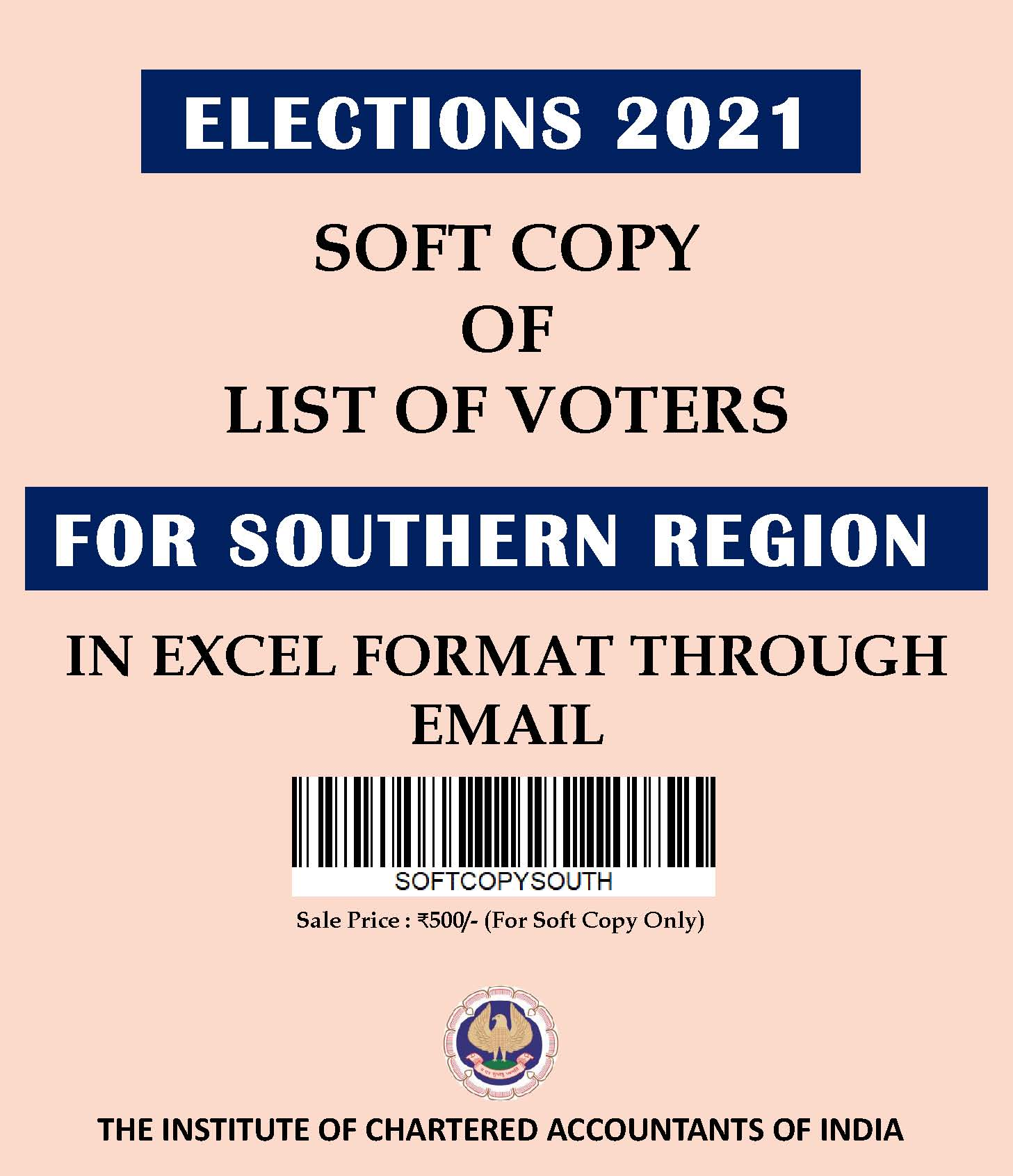 SOFT COPY: List of Voters for Southern Region (Elections 2021) in Excel Format Through E-mail