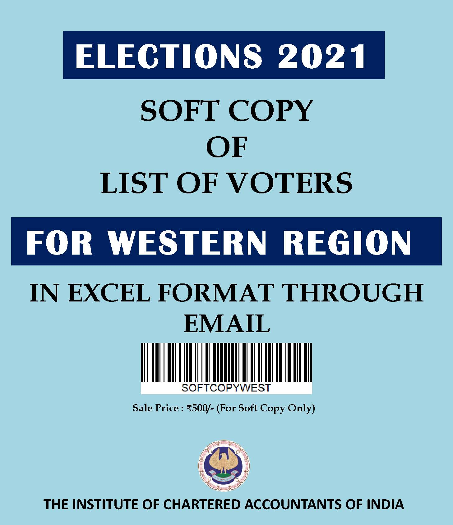 SOFT COPY: List of Voters for Western Region (Elections 2021) in Excel Format Through E-mail